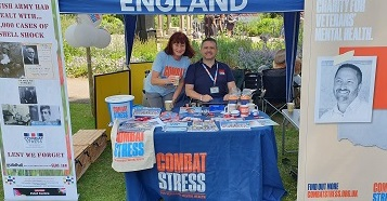 pic of janet and chris on combat stress stall