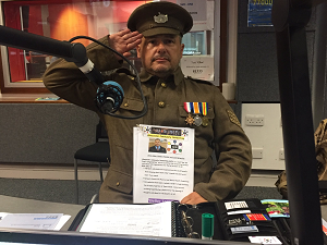 Picture of Christopher Auker-Howlett dressed in WW1 Solider Uniform on the Dominic Cotter Radio Gloucestershire Program 03/09/2019